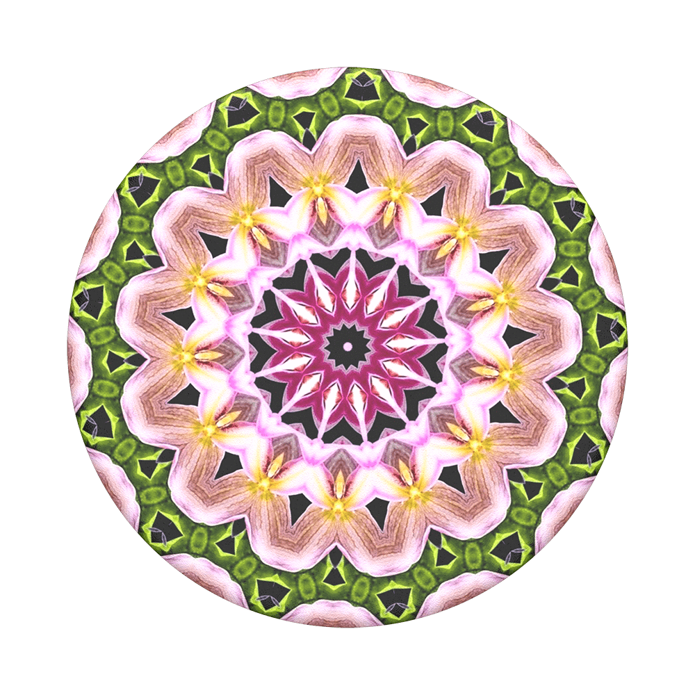 Mobile accessory expanding hand-grip and stand Popsocket in multicolour orchid flower mandala