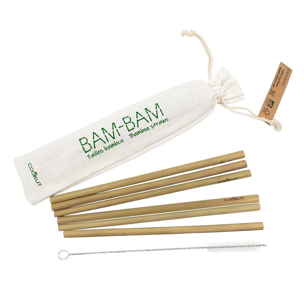 Straws Bamboo Sustainable Set of 6 with Brush
