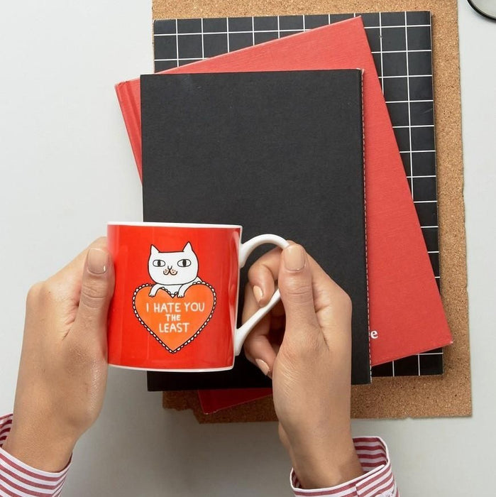 Mug with 'I Hate U The Least' in red by Gemma Correll