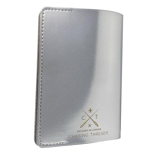 Customisable Passport Cover in Metallic Silver Vegan Leather