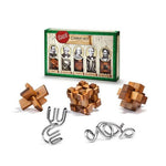 5 Puzzles Set of Wooden and Metal Great Minds Brain Teasers
