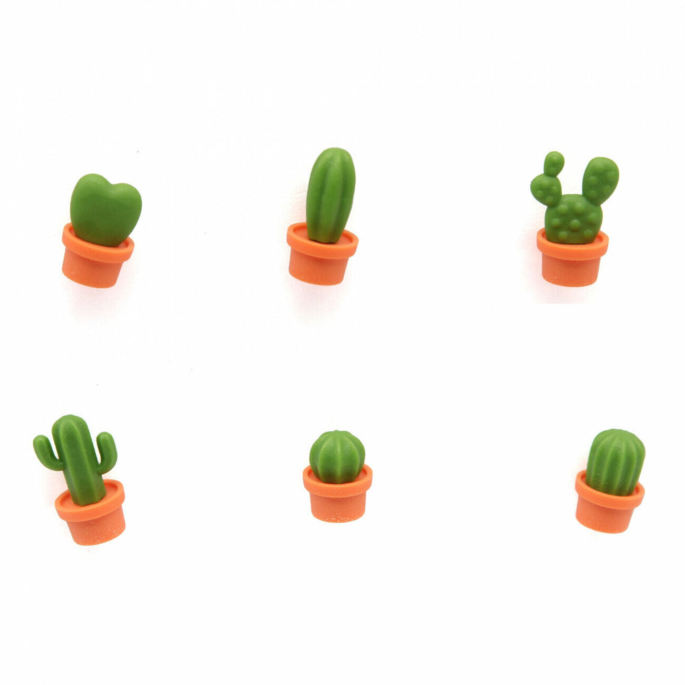 Magnets Cactus Stationery set of 6 Green and Orange