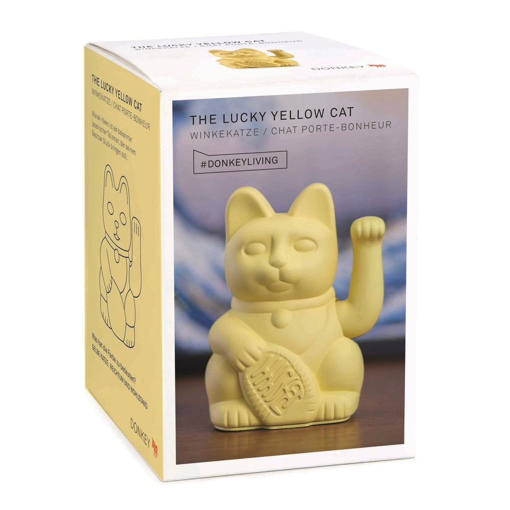 Lucky Cat Waving Arm 'Maneki-Neko' Good Fortune Yellow