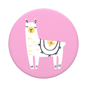 Mobile accessory expanding hand-grip and stand Popsocket with Llama illustrated