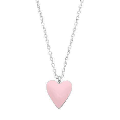 Necklace with an enamel heart pendant in pink