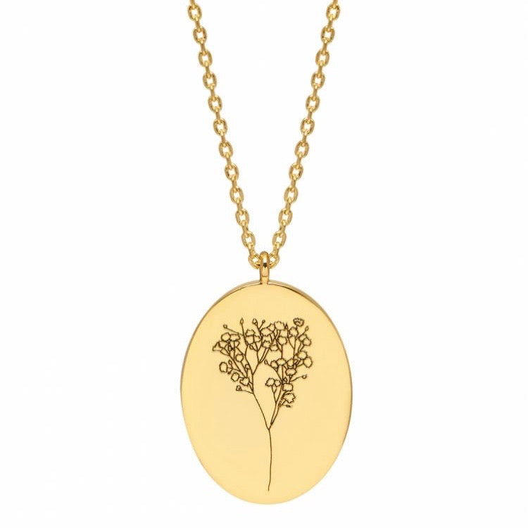 Necklace with flower gypsophila pendant in gold