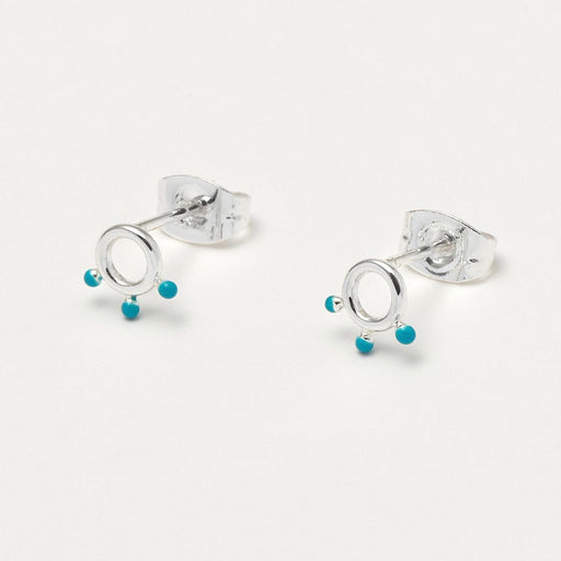 Earrings with circle dots in turquoise
