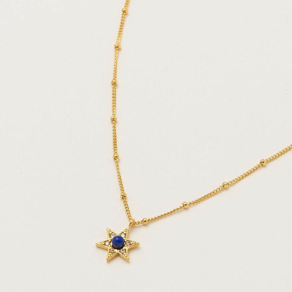Necklace Lapis CZ Star - Gold Plated
