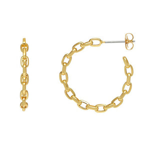 Load image into Gallery viewer, XXEB Chain Hoop Earing Gld