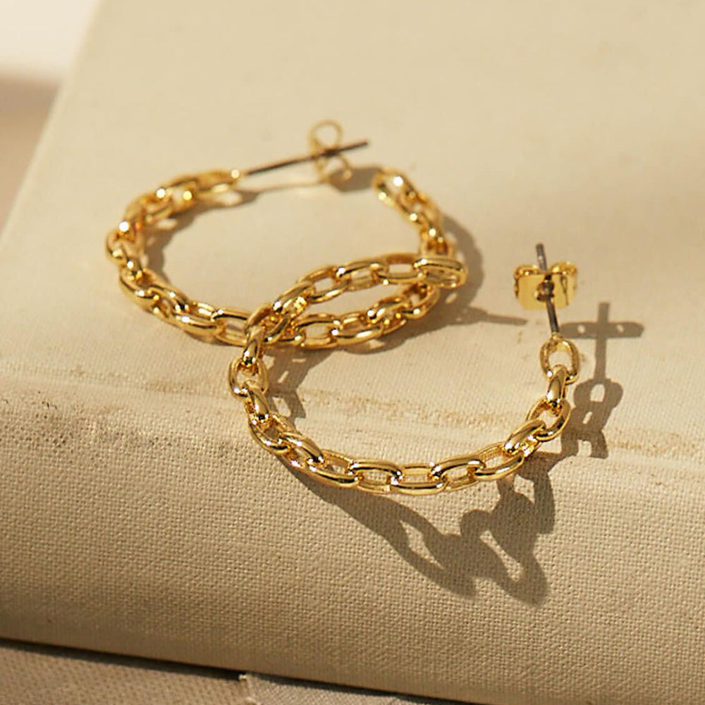 Chain Hoop Earrings Gold Plated