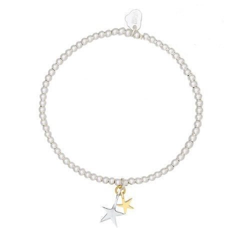 Bracelet with double star charm in gold and silver