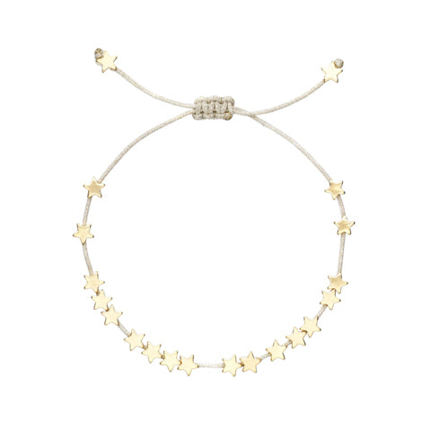 Bracelet with 18 gold stars on silver thread cord