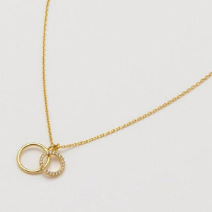 Necklace Double Circle Charm - Gold Plated
