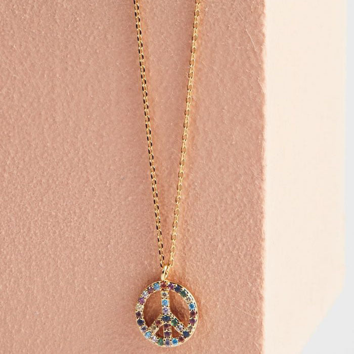 Necklace Peace Symbol Rainbow - Gold Plated Multicolour