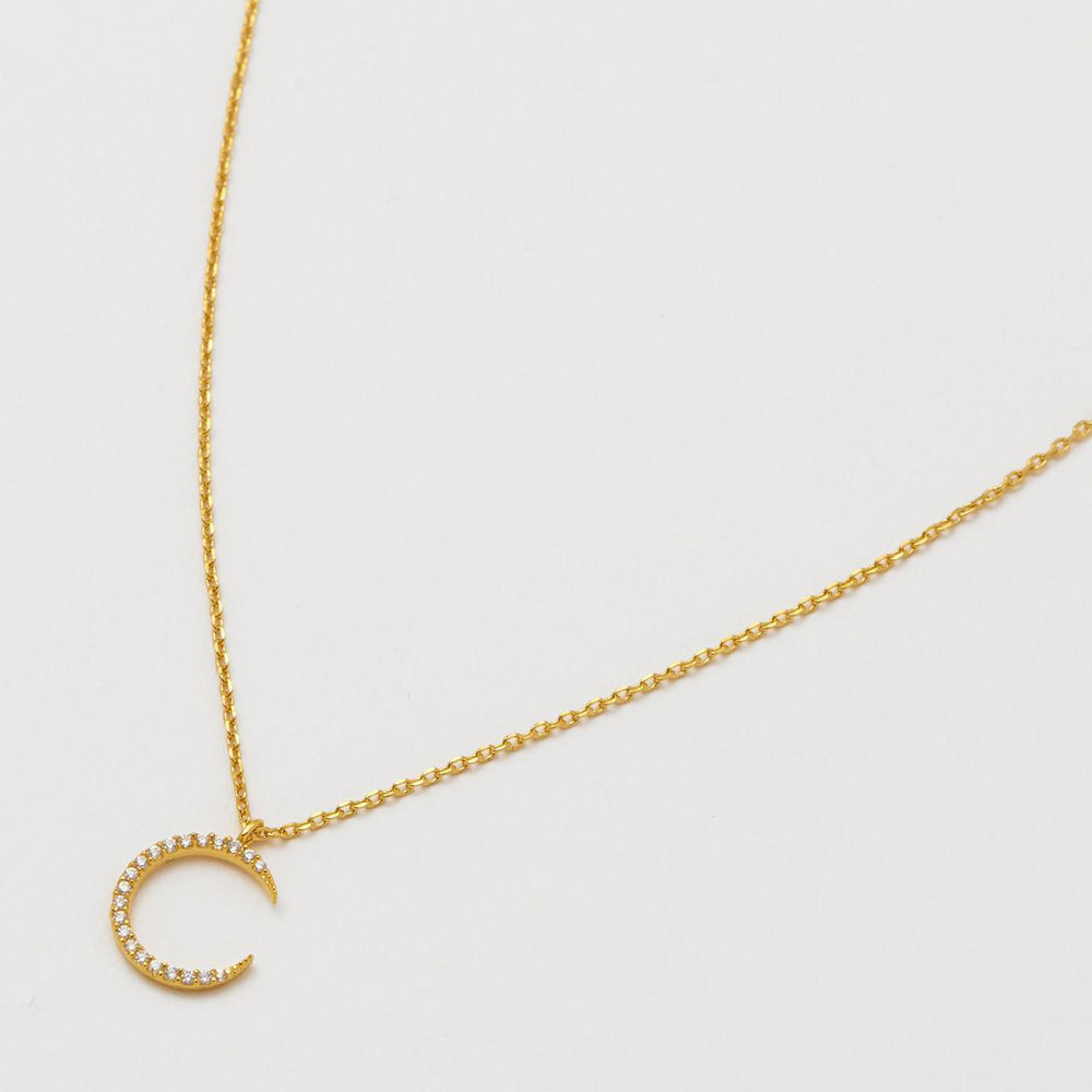 Necklace White Moon Gold Plated
