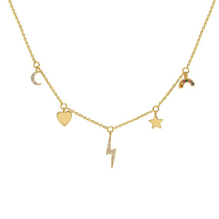 Necklace Multi charm CZ in Gold