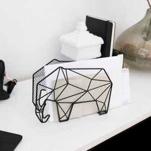 Letter and Key Organiser Wall Mount or Freestanding Elephant in Black Metal