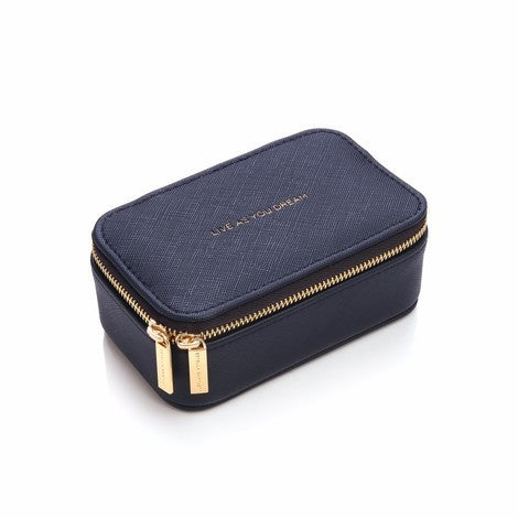 Mini jewellery box in navy faux leather with embossed 'Live as you dream' slogan