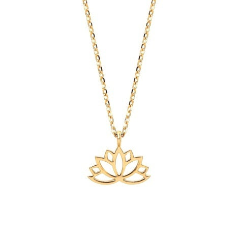 Necklace with lotus charm in gold
