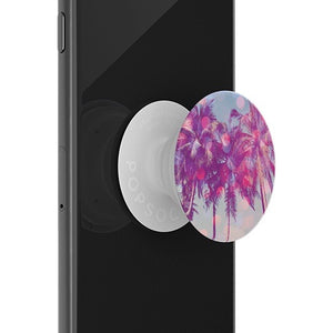 Mobile accessory expanding hand-grip and stand Popsocket in pastel palm trees