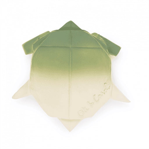 Baby teether and bath toy Turtle 'H2Origami' in green made from natural rubber