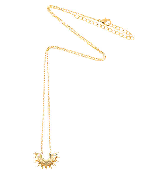 Necklace with sunburst fixed pendant in gold