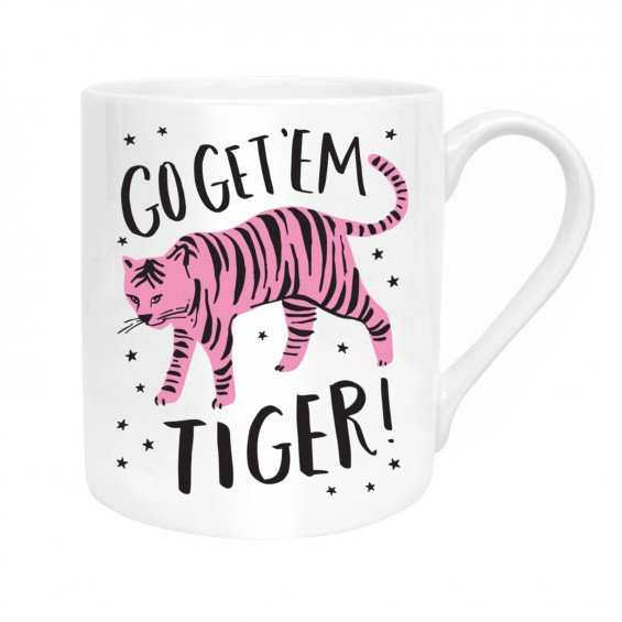 Mug with 'Go Get Em Tiger' in white by Hello!Lucky