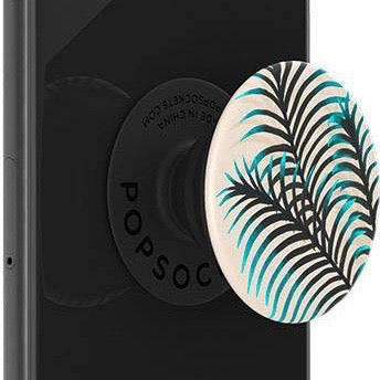 Mobile accessory expanding hand-grip and stand Popsocket in blue black palm leaves