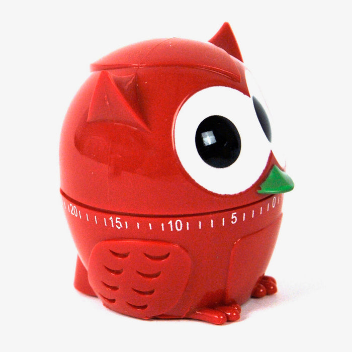 Kitchen timer owl shaped in red