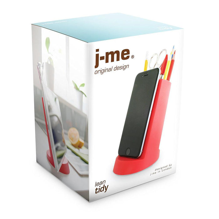 Desk tidy lean red Stationery j-me - Brand Academy Store