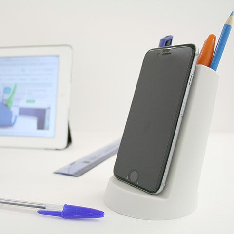Lean desk tidy in grey Stationery j-me - Brand Academy Store