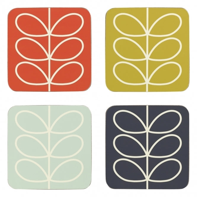 Linear stem Orla Kiely coasters | Set of 4