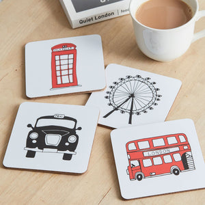 Set of four coasters with London skyline souvenir gift in white
