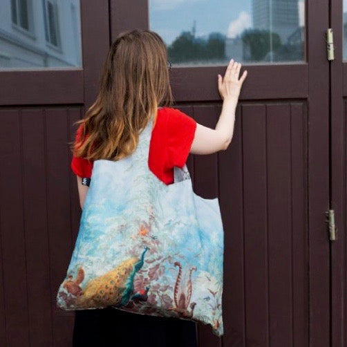 Foldable Tote bag with 'Brazil' scenic peacock artwork by Louis Joseph Fuchs in blue