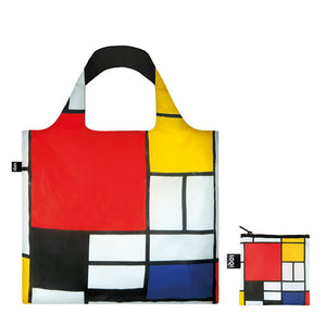 Foldable Tote bag with 'Abstract' artwork by Piet Mondrian in red yellow white blue