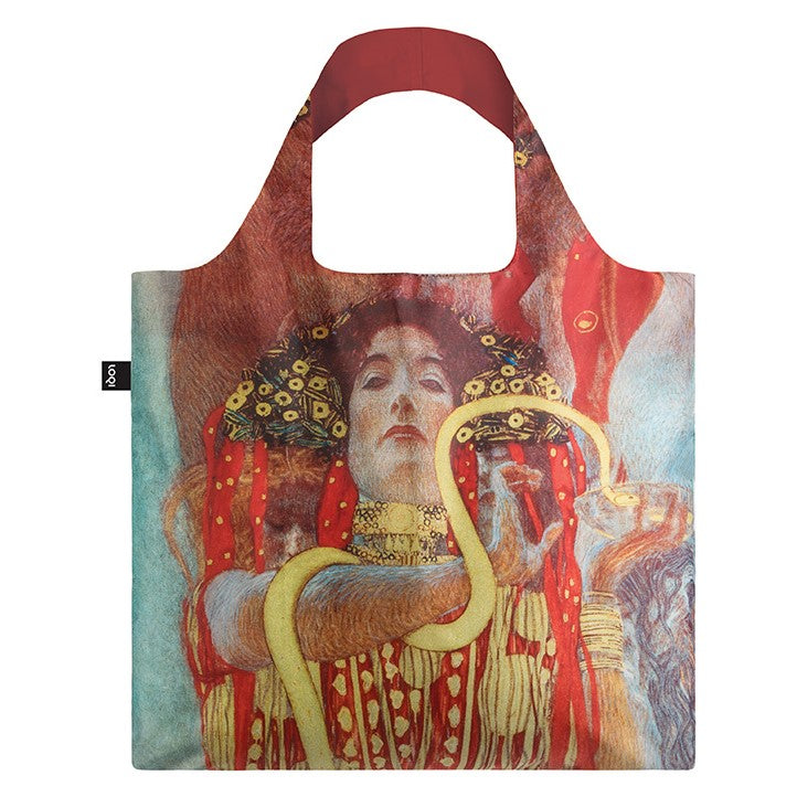 Foldable Tote bag with 'Hygieia' artwork by Gustav Klimt in red gold