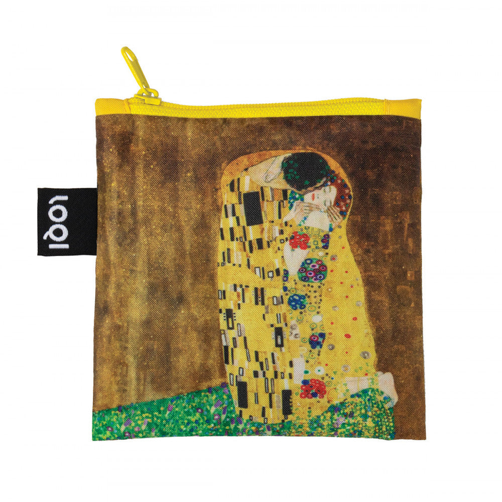 Foldable Tote bag with 'The Kiss' artwork by Gustav Klimt in yellow gold