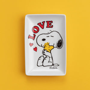 Snoopy Trinket Tray with Peanuts Snoopy Dog 'Love' White