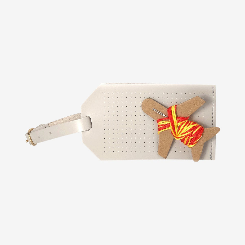 Luggage Tag Stitch Your Own Design Cross Stitch in Light Grey