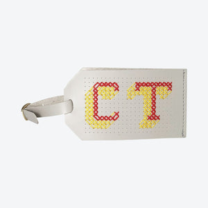 Load image into Gallery viewer, Luggage Tag Stitch Your Own Design Cross Stitch in Light Grey