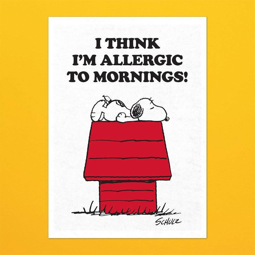 Snoopy Tea Towel with Peanuts comic cartoon 'Allergic to mornings' in white