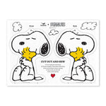 Tea Towel with Peanuts Snoopy Dog Cut & Sew DIY craft in white