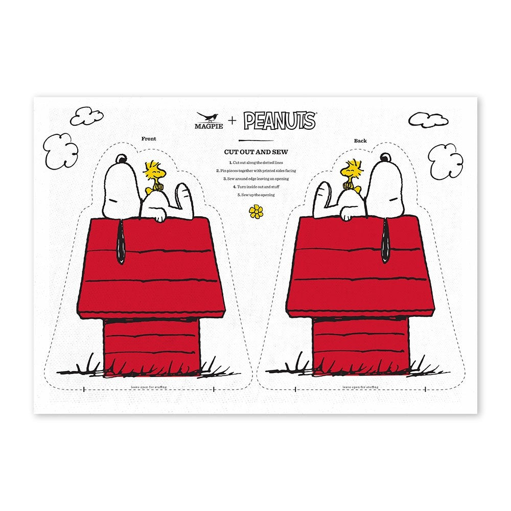 Tea Towel with Peanuts Snoopy Doghouse Cut & Sew DIY craft in white