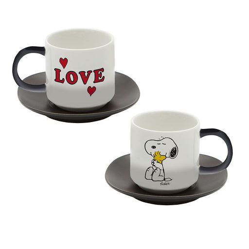 Snoopy Espresso cups and saucers with Peanuts Comic 'Love' set of 2 in white and black