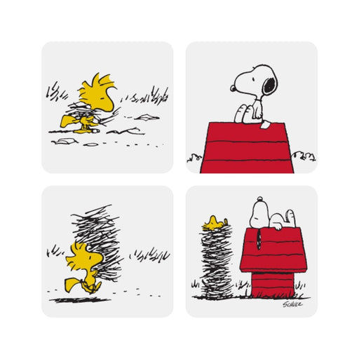 Coasters with Snoopy Peanuts Comic cartoon in white