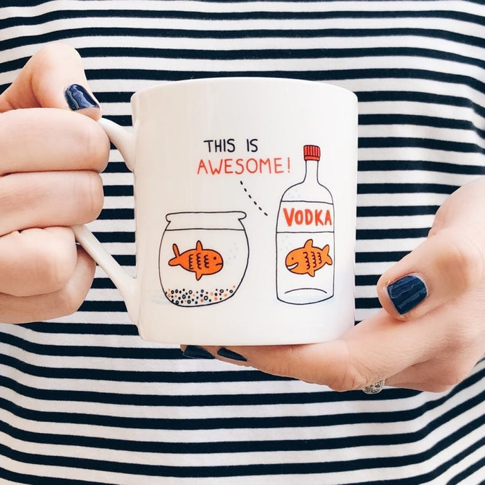 Mug with funny 'Vodka Goldfish' design in white by Gemma Correll