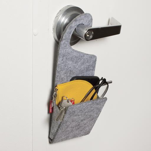 Organiser Door Knob Hanger Pocket Felt Grey