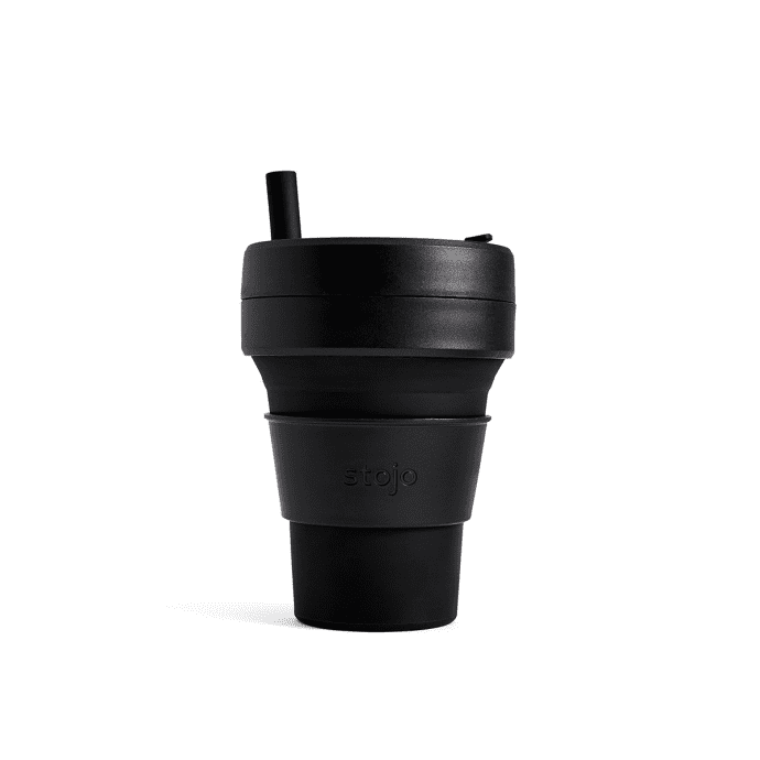 Stojo collapsible cup travel mug 16oz with straw in black