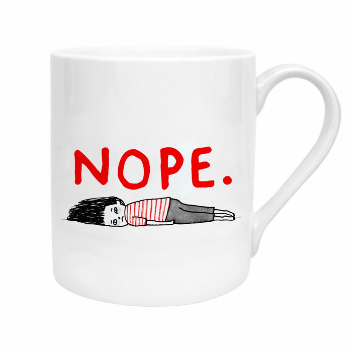 Mug with 'Nope' in white by Gemma Correll