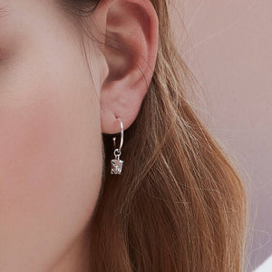 Load image into Gallery viewer, Earrings Elephant Drop Hoop - Silver Plated